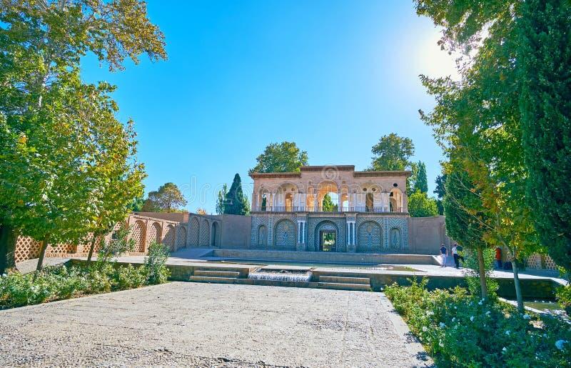 在Mahan,伊朗参观王子` s庭院 库存图片