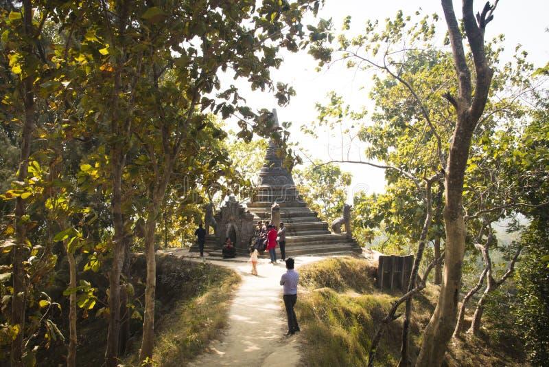 在Maheskhali海岛,孟加拉国上的印度寺庙 免版税图库摄影