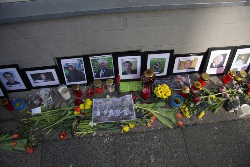 在Maidan广场,基辅的大屠杀 免版税库存图片