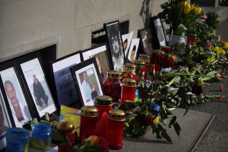 在Maidan广场,基辅的大屠杀 库存图片