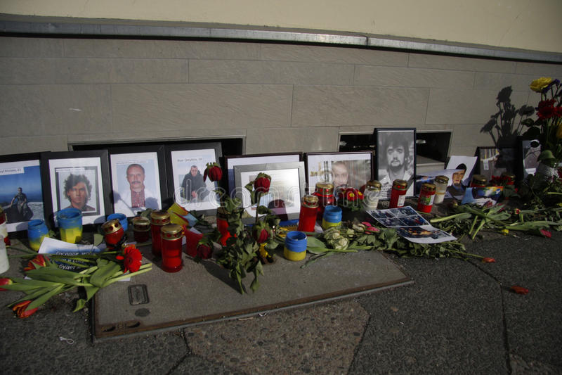 在Maidan广场,基辅的大屠杀 免版税库存照片