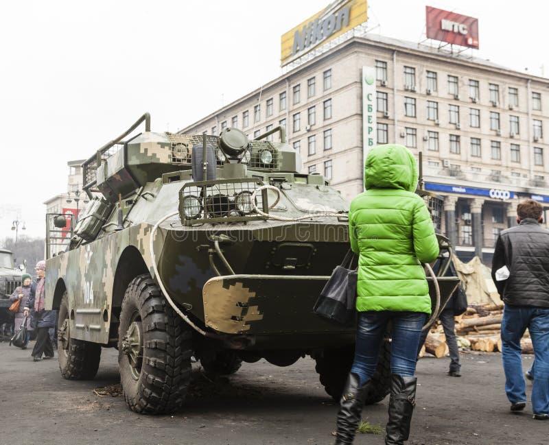 在Maidan的装甲运兵车 免版税库存图片
