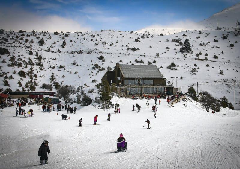 在Mainalo山在世外桃源,伯罗奔尼撒,希腊的滑雪中心 库存照片