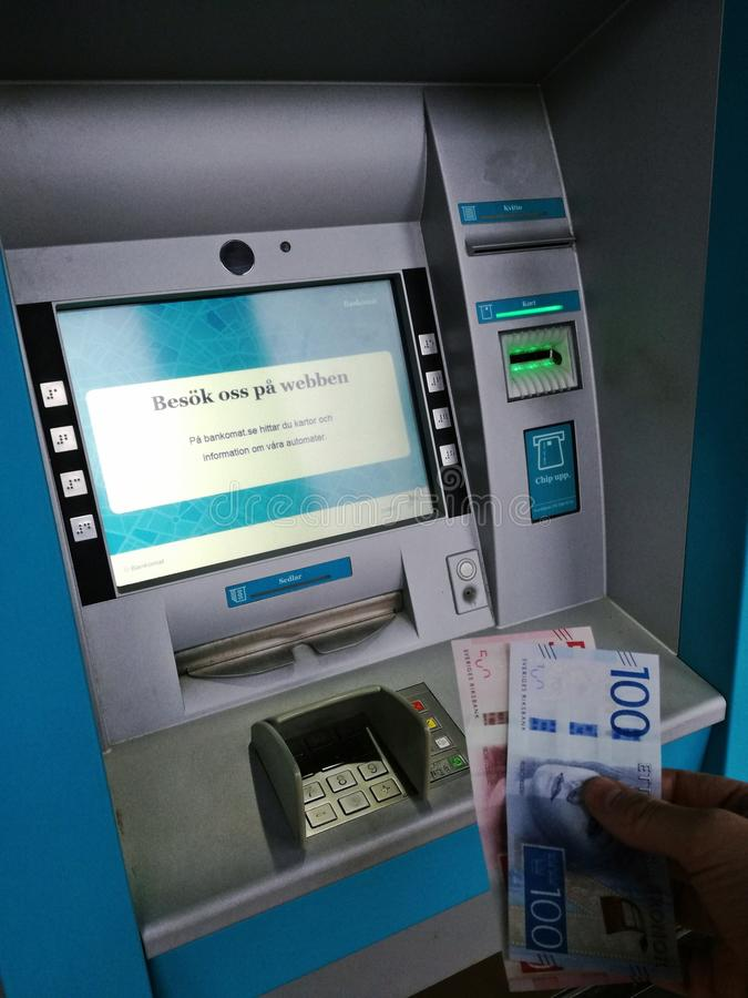在Makaryd瑞典撤出金钱2017年 免版税图库摄影