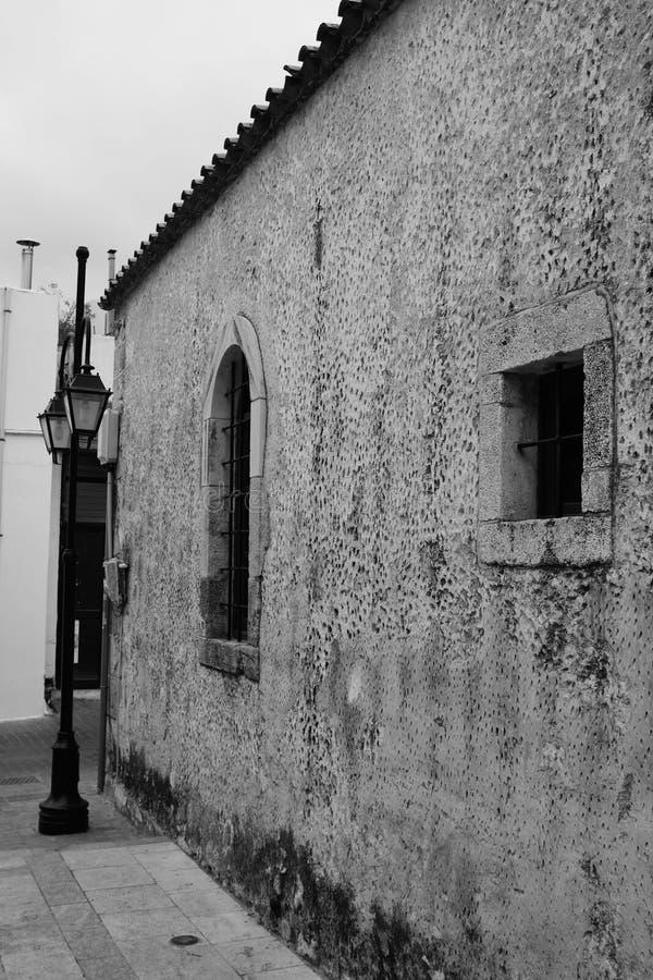 在Malia的老部分的老大厦 库存照片