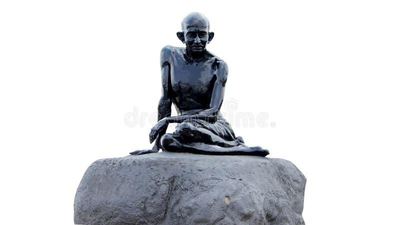 在Malpe海滩的圣雄甘地雕象 免版税库存图片