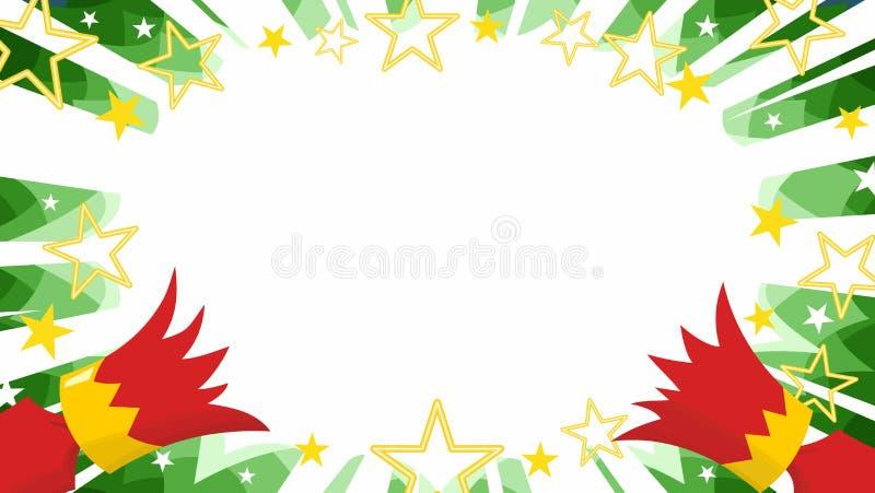 在manga绿色starburst背景撕开的圣诞节薄脆饼干 皇族释放例证
