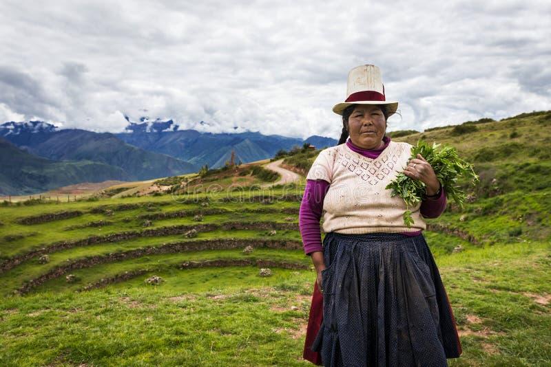 在Maras附近的秘鲁妇女,神圣的谷,秘鲁 库存图片