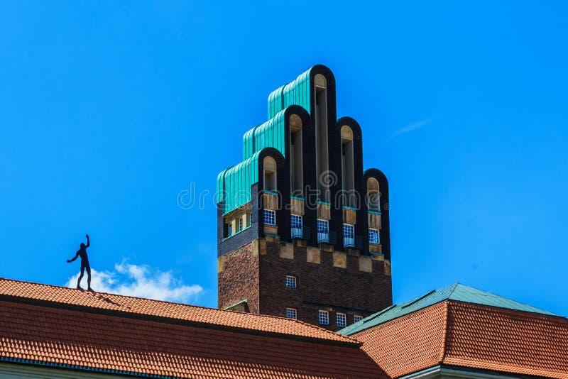 在Mathildenhoehe的婚礼塔在达姆施塔特,德国 免版税库存照片