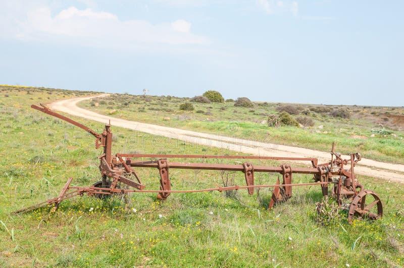 在Matjiesfontein农场的历史的老犁 免版税库存照片