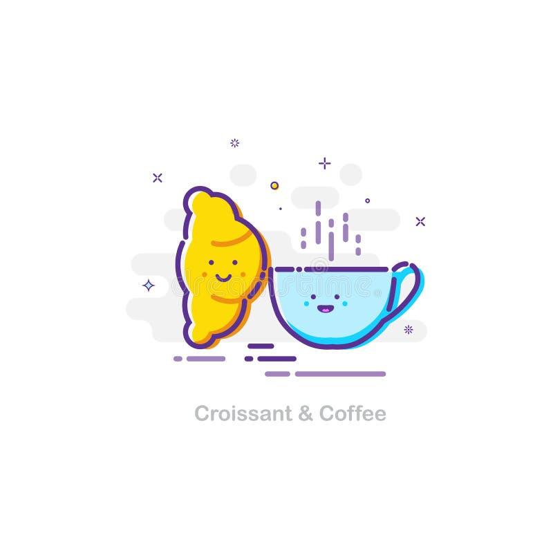 在mbe的新月形面包和咖啡概念设计样式 传染媒介平的例证 库存例证