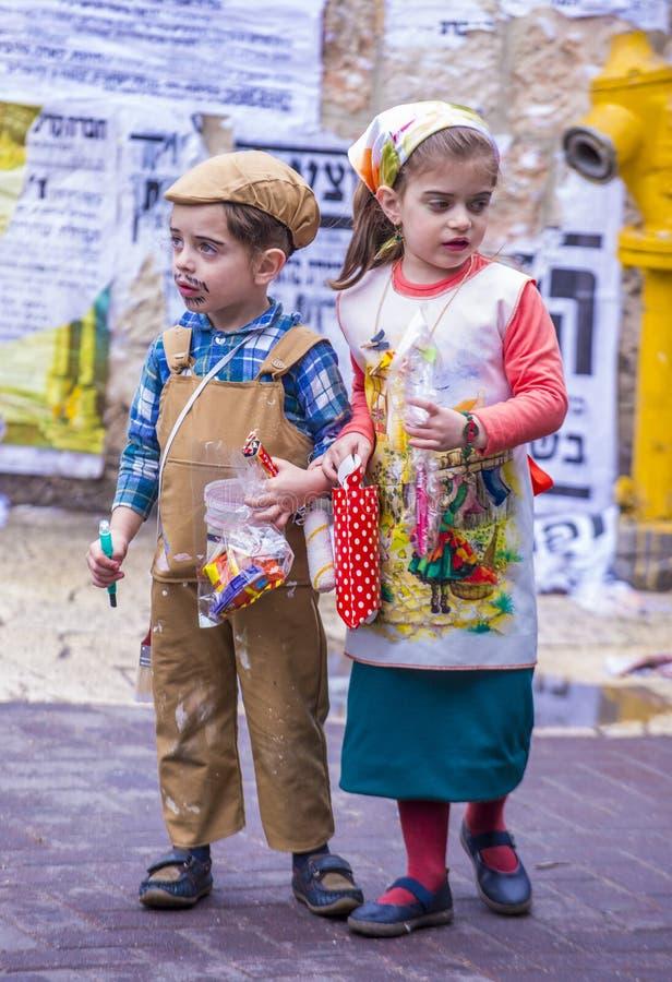 在Mea Shearim的Purim 免版税库存照片