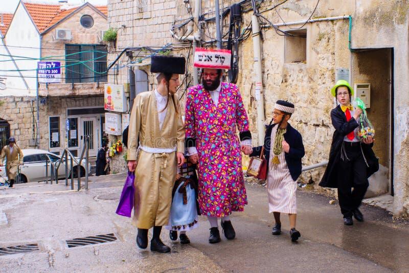 在Mea Shearim,耶路撒冷的普珥节2017年 免版税库存照片