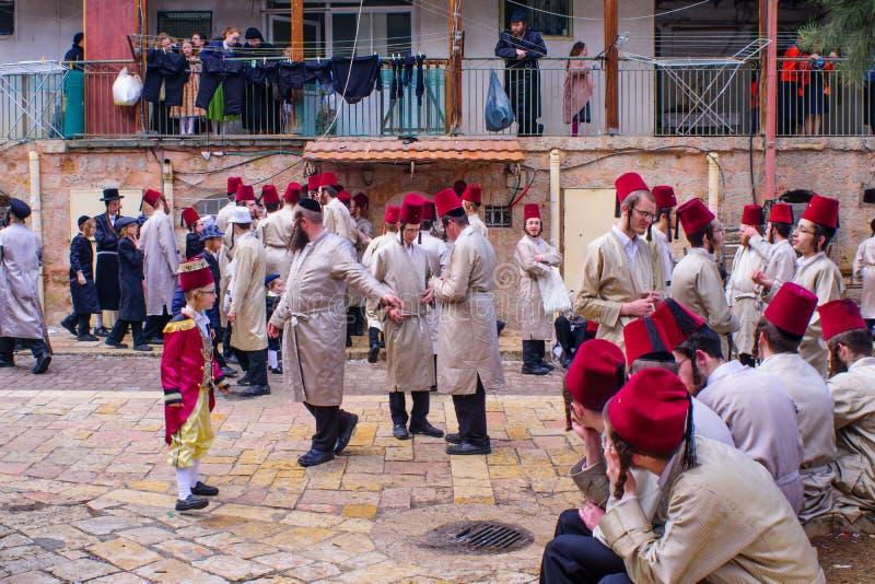 在Mea Shearim,耶路撒冷的普珥节2017年 免版税库存图片