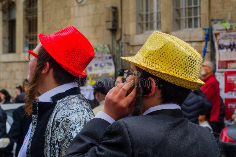 在Mea Shearim,耶路撒冷的普珥节2017年 图库摄影