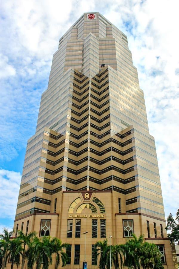 在Menara大众银行的正面图在吉隆坡,马来西亚 图库摄影
