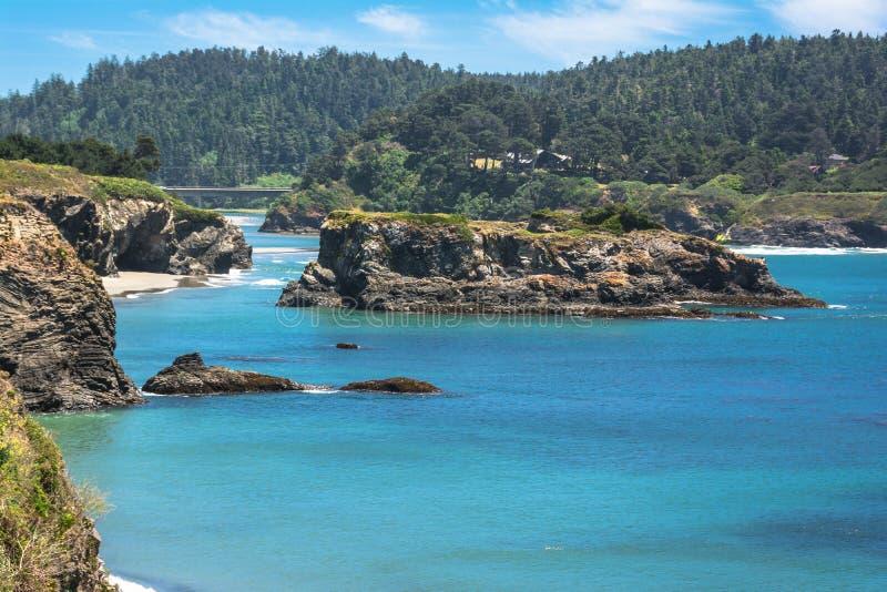在Mendocino,加利福尼亚海湾的小岛  库存照片