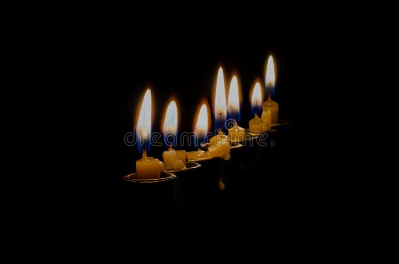 在menorah的八个蜡烛 免版税图库摄影