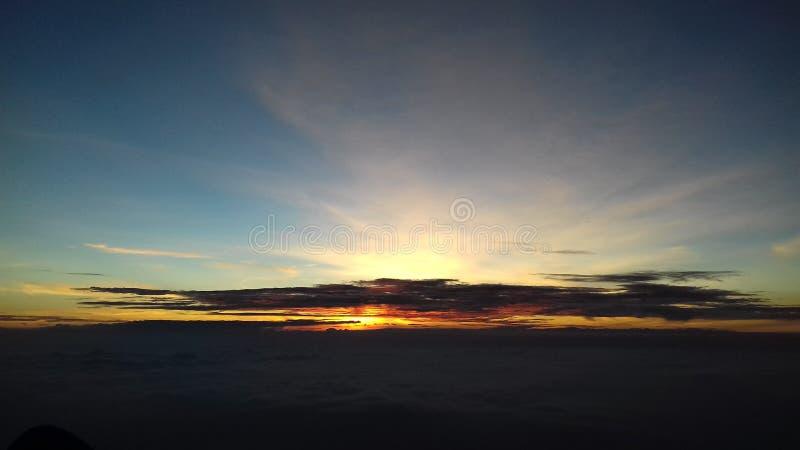 在Merbabu山的日出 免版税库存图片