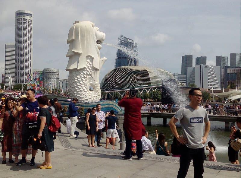 在Merlion公园的游人享用和照相在新加坡 免版税库存照片