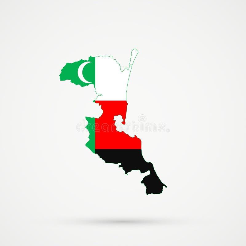 在Meskhetian土耳其人Ahiska土耳其人族群旗子颜色的Kumykia达吉斯坦地图,编辑可能的传染媒介 皇族释放例证