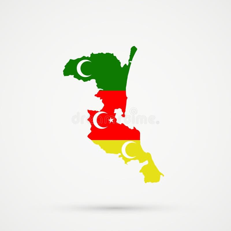 在Meskhetian土耳其人Ahiska土耳其人族群旗子颜色的Kumykia达吉斯坦地图,编辑可能的传染媒介 向量例证