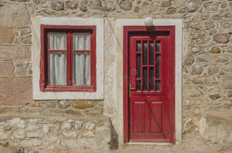 在Midilkli海岛莱斯博斯岛上的小屋 免版税库存照片