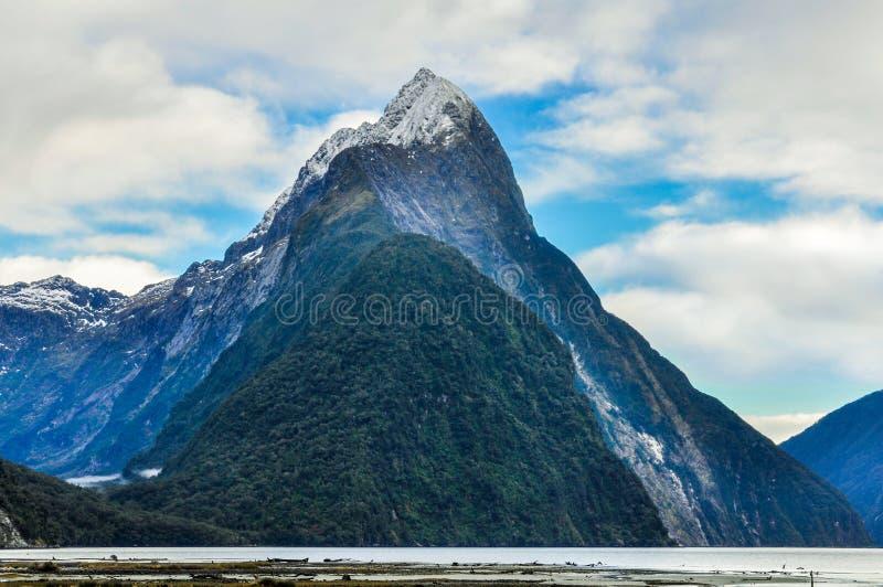 在Milford Sound,新西兰的主教峰顶 免版税库存照片