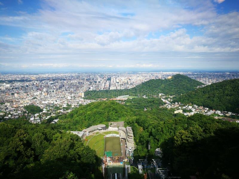 在moiwa山的顶视图 库存照片