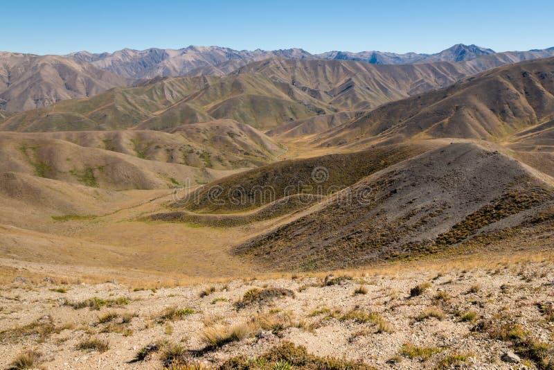 在Molesworth驻地附近的贫瘠风景在Marlborough,新西兰中 免版税库存照片