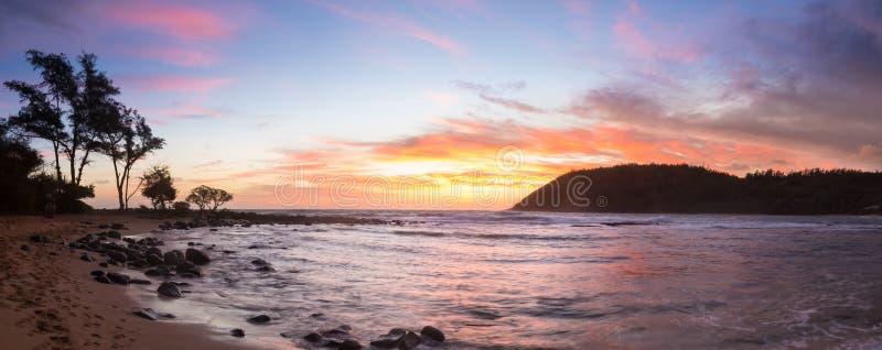 在Moloa'a海滩,考艾岛,夏威夷的日出 库存图片