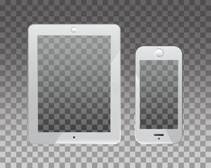 在monopod的空的大模型的屏幕和电话 透明度backg 皇族释放例证