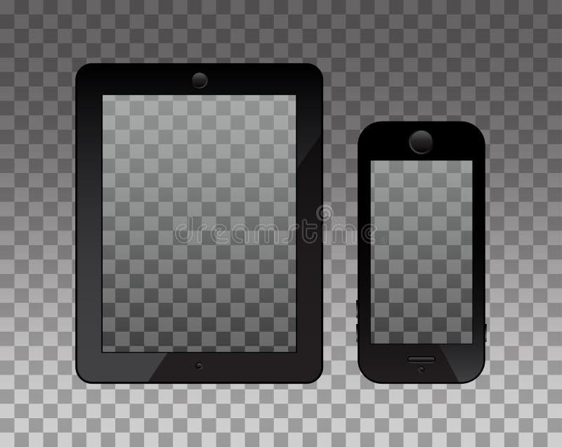 在monopod的空的大模型的屏幕和电话 透明度backg 向量例证