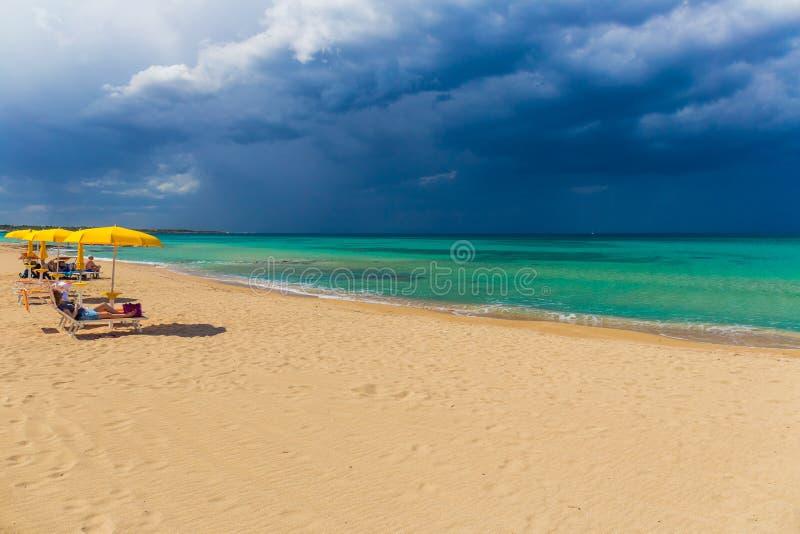 在Monopolli Capitolo,普利亚地区,南意大利附近的惊人的金黄沙子海滩 免版税库存图片