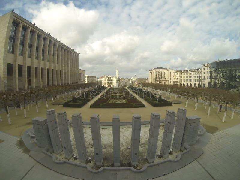 在Mont Des艺术的看法在布鲁塞尔 免版税库存照片