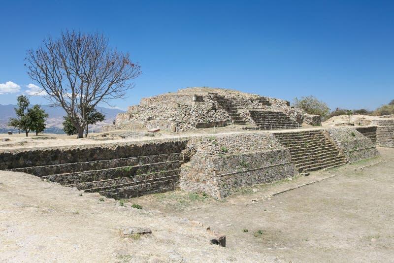 在Monte奥尔本,瓦哈卡,墨西哥的古老墨西哥人废墟 图库摄影