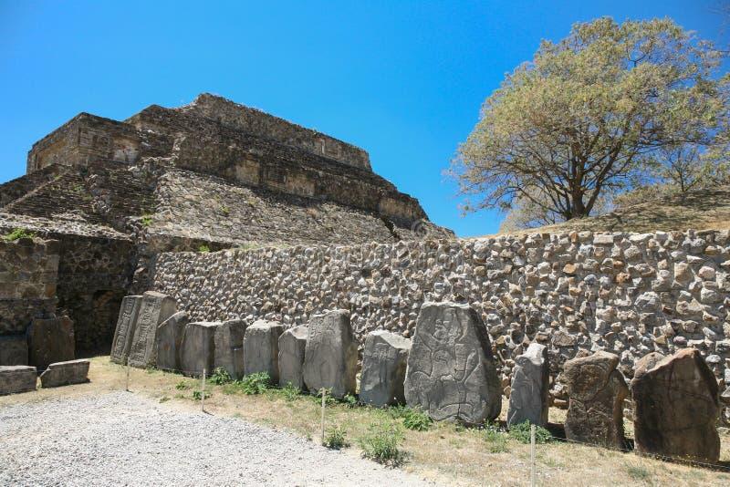 在Monte奥尔本,瓦哈卡,墨西哥的古老墨西哥人废墟 免版税图库摄影