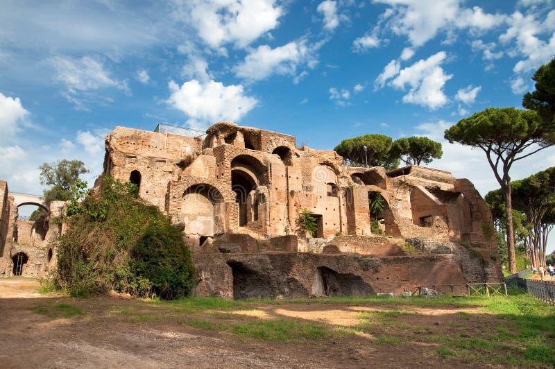 在Monte Palatino罗马的Domus Severiana 库存照片