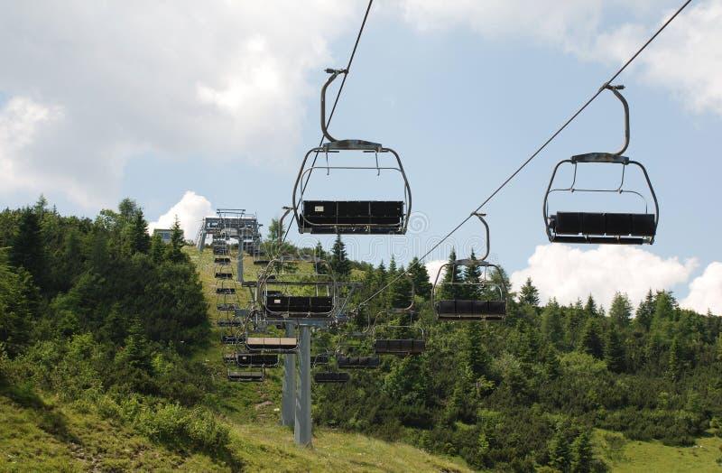 在Monte Zoncolan的滑雪电缆车在夏天 库存图片
