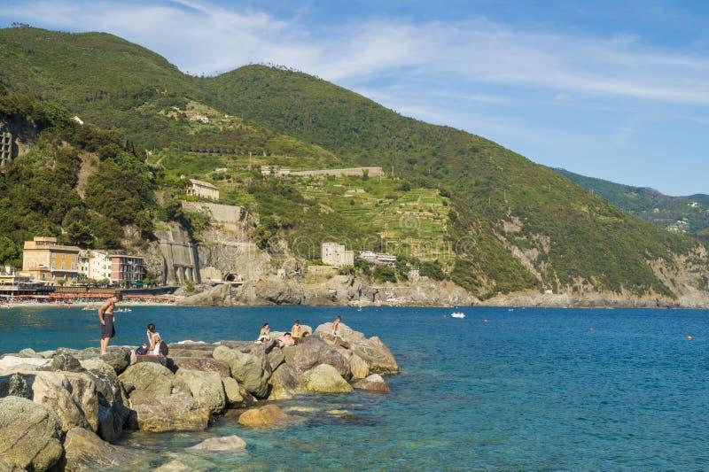 在Monterosso海滩,五乡地 库存图片