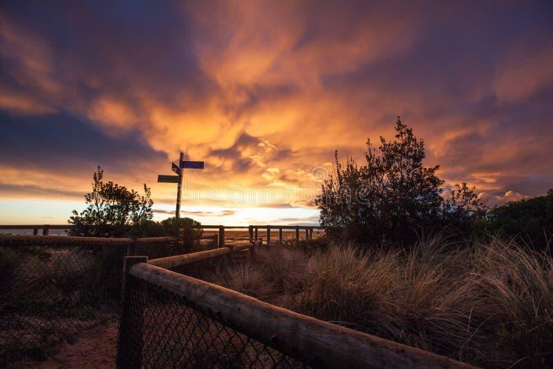 在Mornington半岛的生动的日落 库存照片