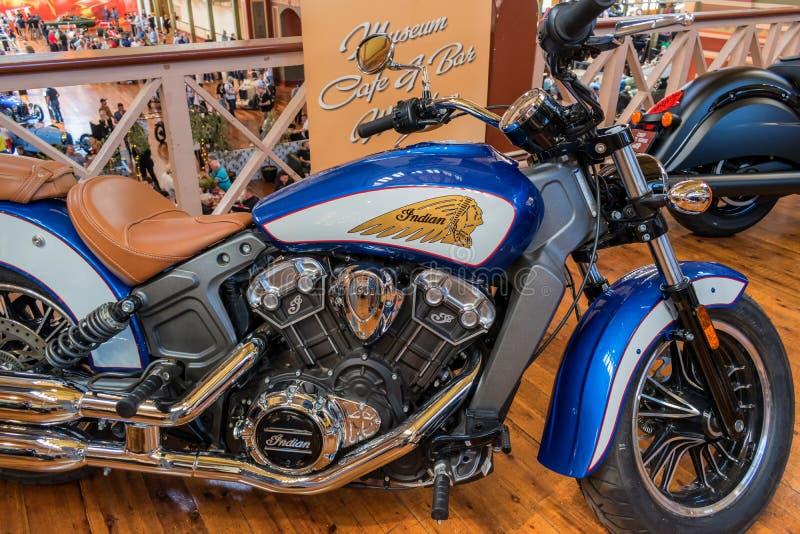 在Motorclassica的美丽的印地安摩托车 免版税库存照片