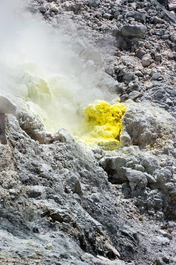 在Mt的硫磺喷气孔 Sibayak 库存图片