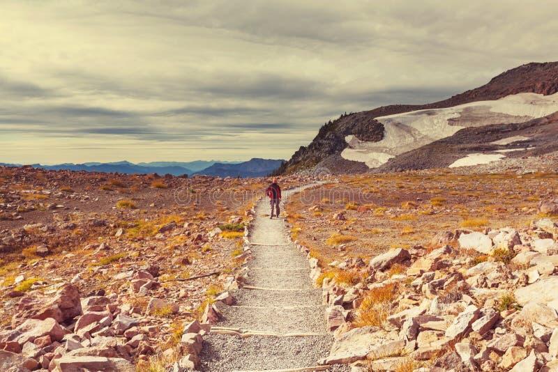在Mt的远足 更加多雨 免版税库存图片