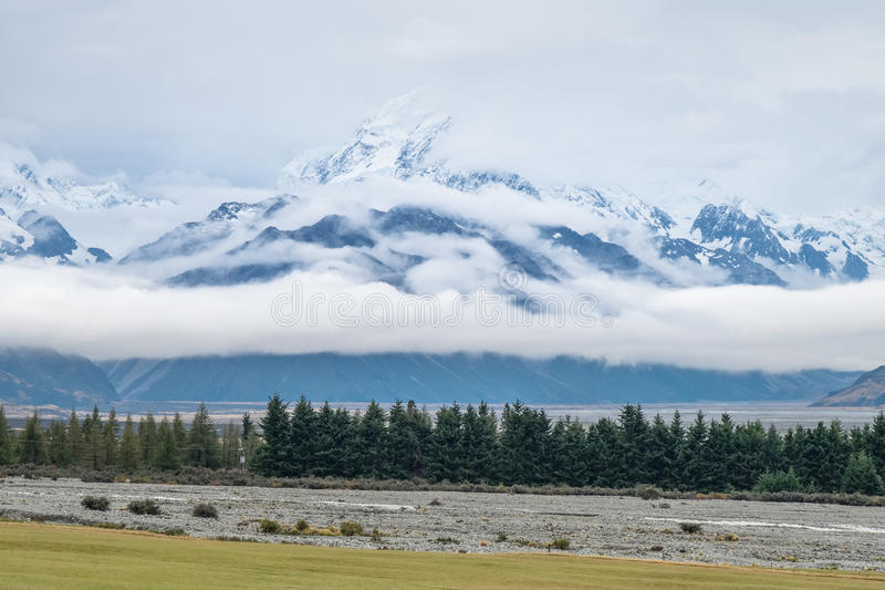 在Mt附近的风景 厨师/Aoraki国家公园,新西兰 库存照片