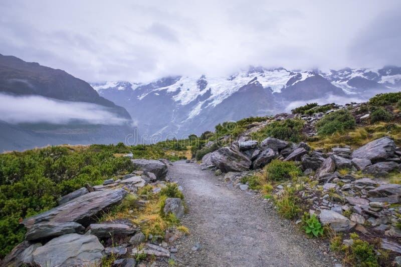 在Mt附近的风景 厨师/Aoraki国家公园,新西兰 库存图片
