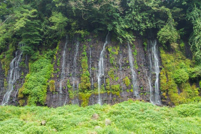 在Mt附近的Shiraito瀑布 富士在富士宫专区, Jap 免版税库存照片