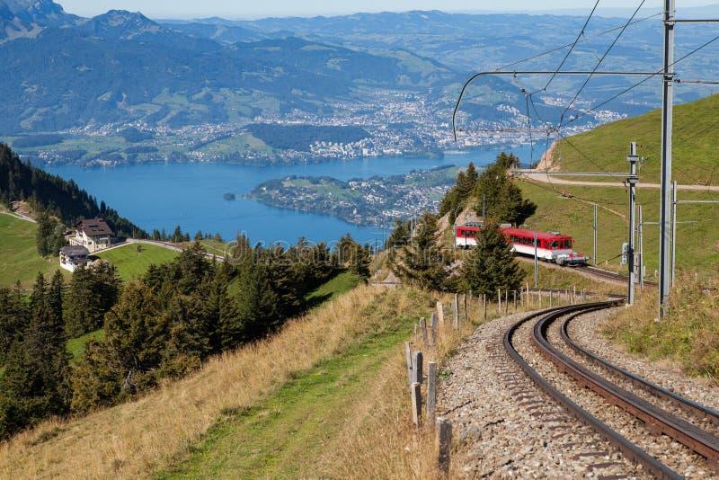 在Mt. Rigi的山铁路 图库摄影