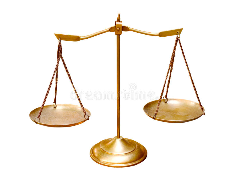 在mu的白色背景用途隔绝的金黄铜平衡标度 库存图片