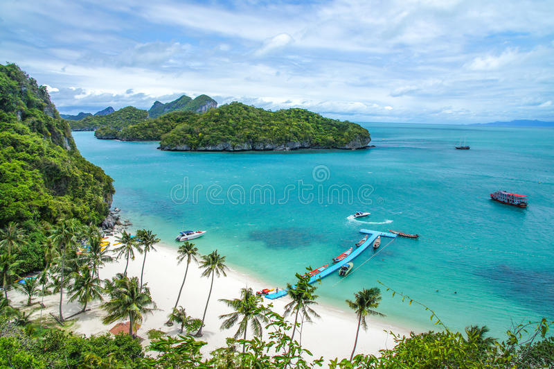 在Mu Ko Ang皮带全国海岸公园海岛上的海滩和椰子树在苏梅岛附近的在泰国湾 库存照片